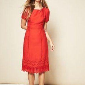 Old Navy Crochet Midi Dress Short Sleeve Orange